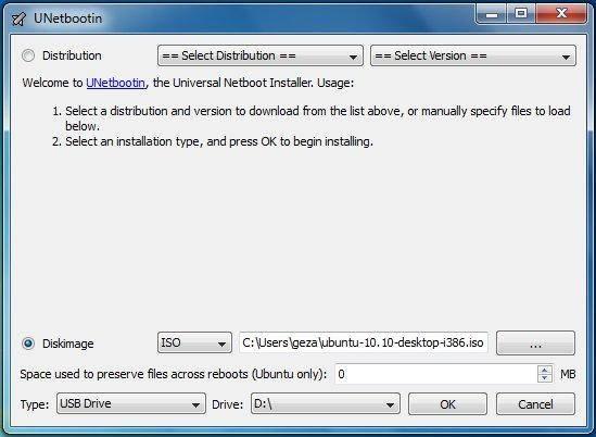 unetbootin choix distribution
